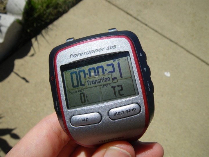 Garmin 305 during transition in multisport mode
