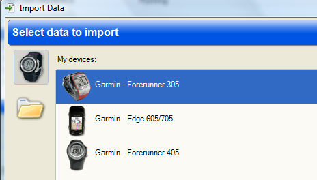 Sport Tracks Import Screen