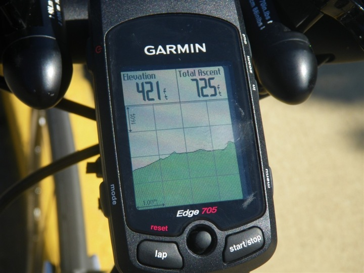 Garmin Edge 705 elevation map