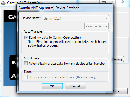 Garmin ANT+ Agent Send data to Garmin Connect 310XT