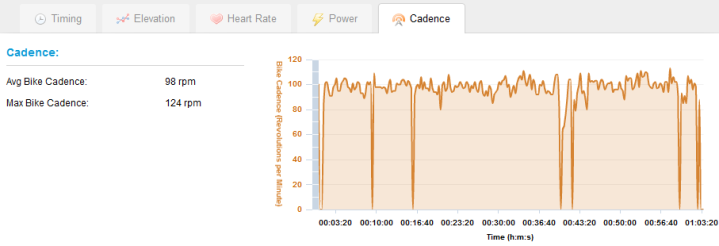 Garmin 310XT Cadence Graph on Garmin Connect