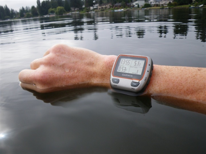 Garmin 310XT sitting in water on wrist