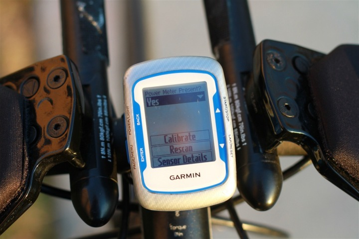 Edge 500 Power Meter Configuration