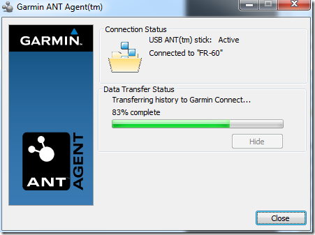 ANT+ Agent Transfer to Garmin Connect