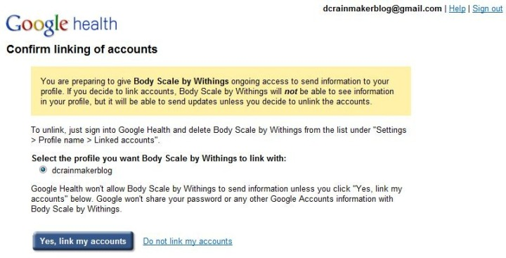 Withings Google Health Account Linking