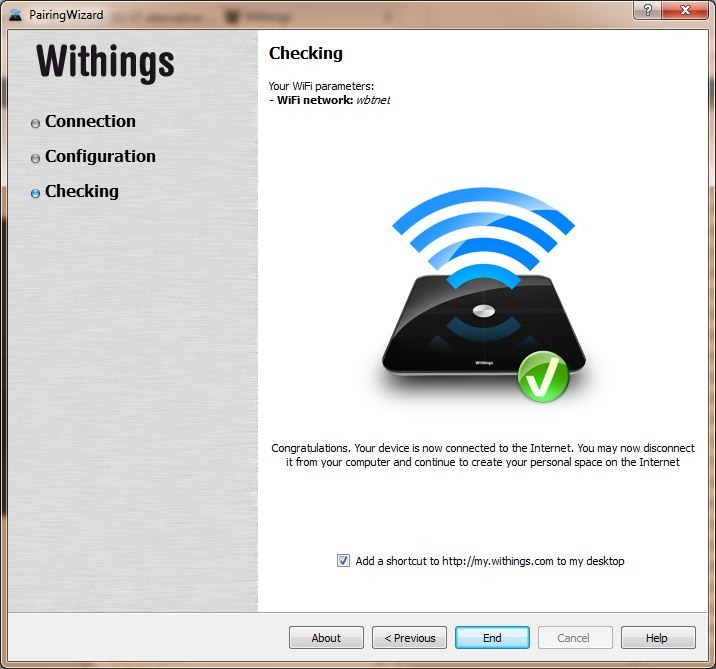 Withings WiFi Network Setup Complete