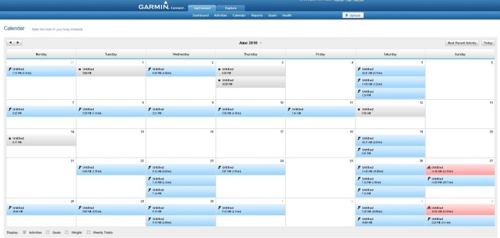 Garmin Connect Calendar View