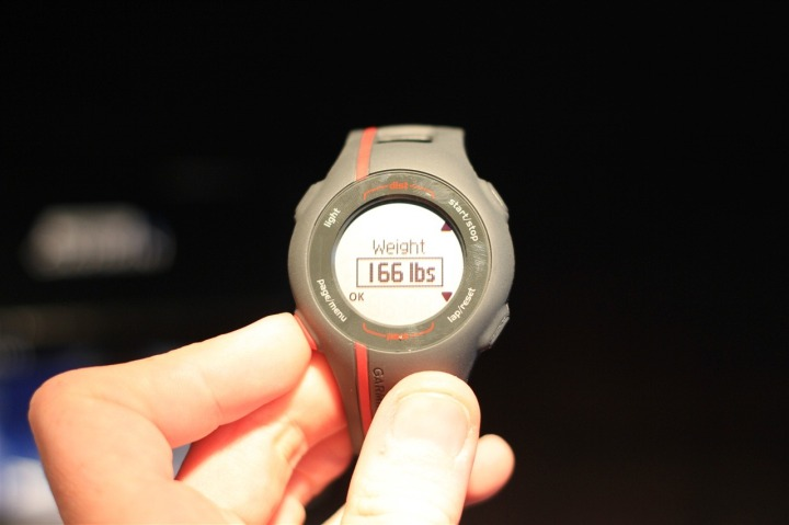 Garmin Forerunner 110 Weight Entry