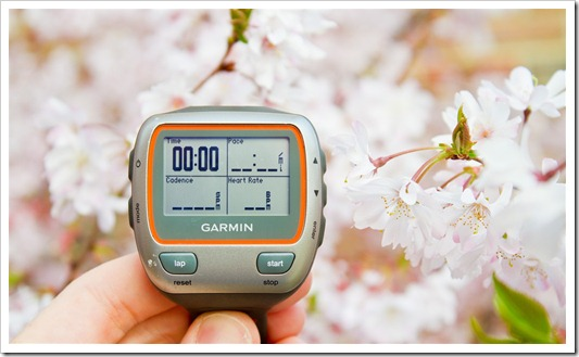 Garmin 310XT with the blossoms