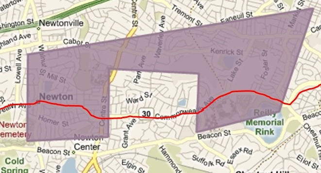 Boston Marathon Miles 19-22 Geofence