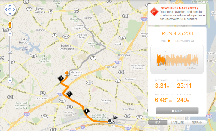 Nike+ GPS Website Run Review GPS Route