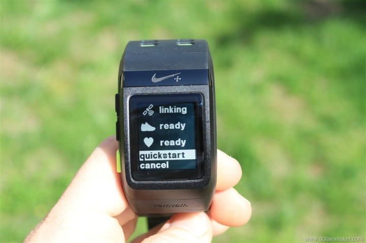 Nike+ GPS Sportwatch Quickstart Mode
