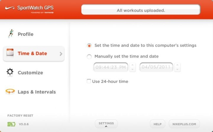 Nike+ GPS Sportwatch Connect Workout Upload