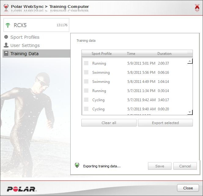 Polar RCX5 Local Training Data Export-Download