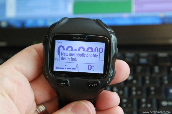 Metabolic Profile Downloaded for calorie consumption - Garmin Forerunner 910XT