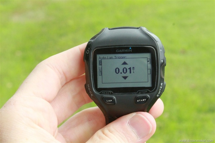 Garmin FR910XT Auto Lap Customization