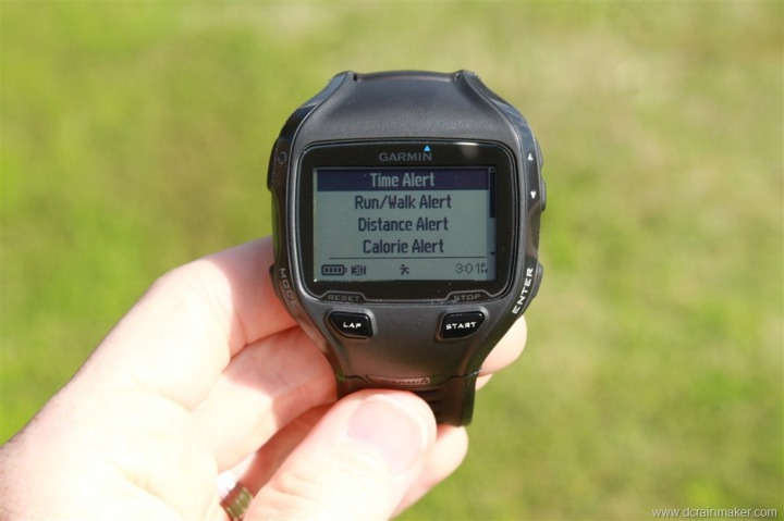 Garmin FR910XT Time, Distance, Calorie, Run/Walk Alerts