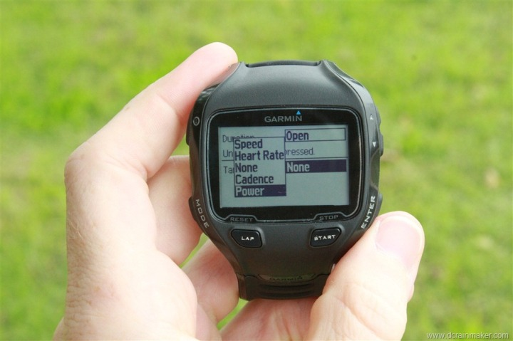 Garmin FR910XT Workout Creator on Watch