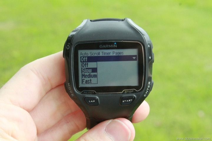 Garmin FR910XT Auto Scroll Settings