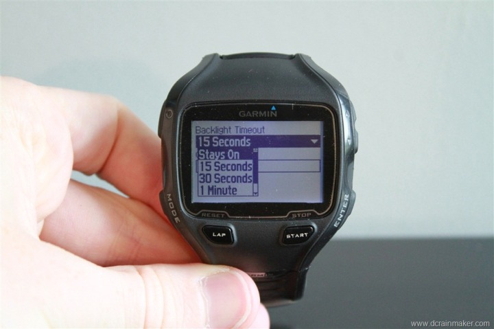 Garmin FR910XT Backlight Timeout Settings