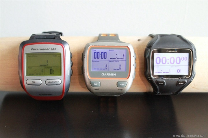 Garmin FR305, 310XT and FR910XT Size Comparison