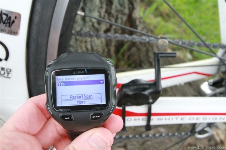 Garmin Bike Sensor Scan on FR910XT