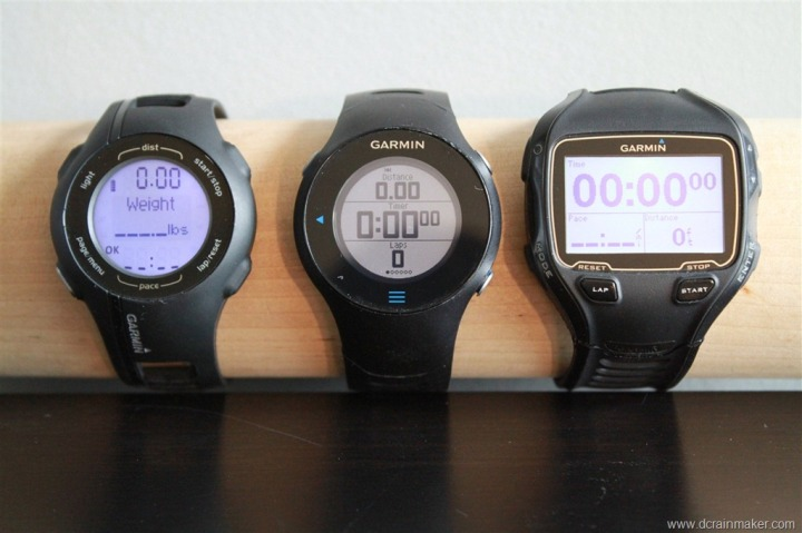 Garmin FR210, FR610 and FR910XT Size Comparison (Forerunner)
