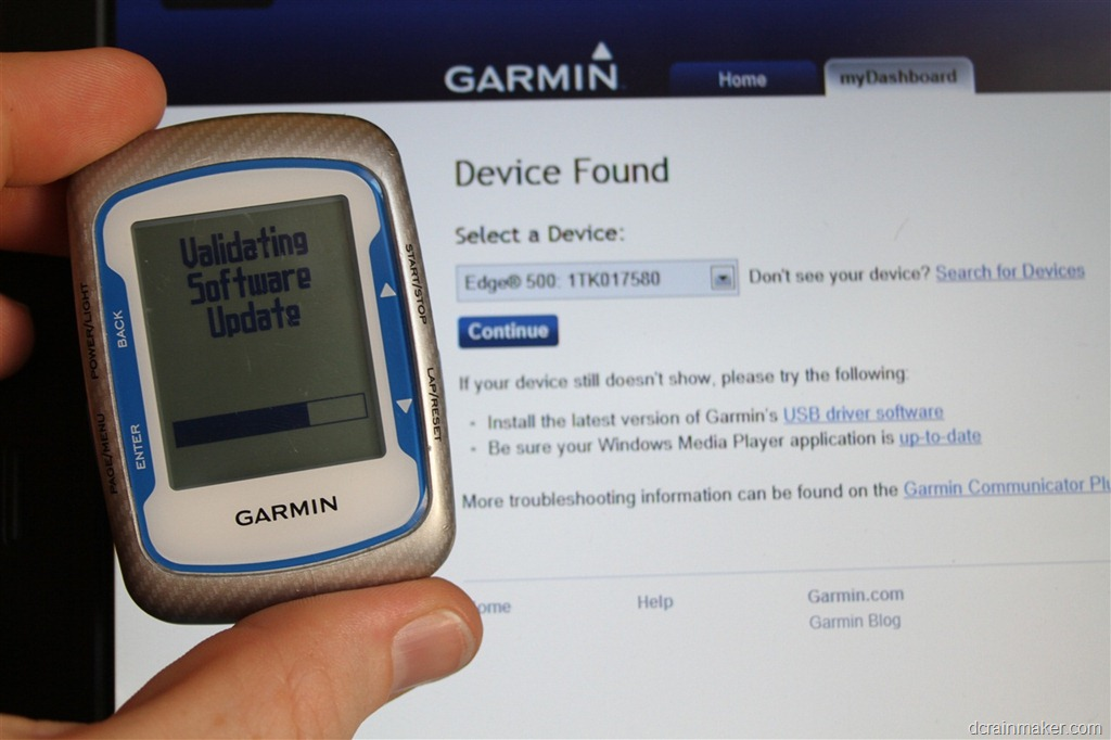 Garmin edge 500 validating software update