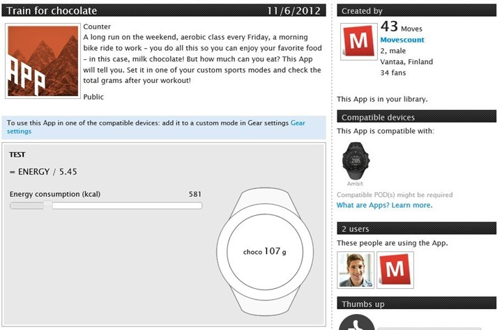 Suunto Ambit App Zone Train for Chocolate App