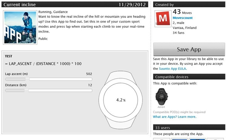 Suunto Ambit App Zone Current Incline App