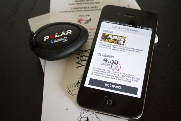 Polar Beat App Footpod Calibration Menu