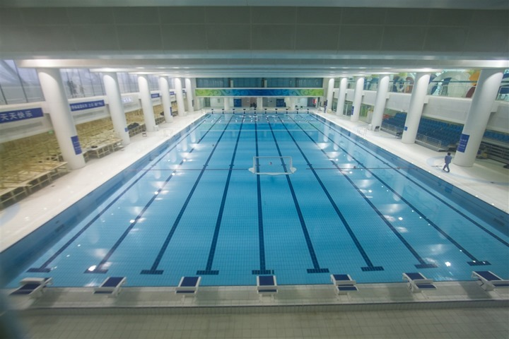 an underwater view of the london olympics swimming pool top view