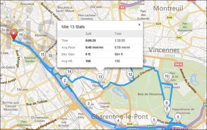 Garmin FR620 Live Tracking Mile Splits