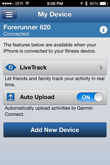 Garmin FR620 Mobile App Uploads Enablement