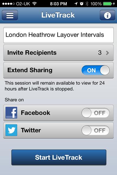 Garmin FR620 Livetracking App