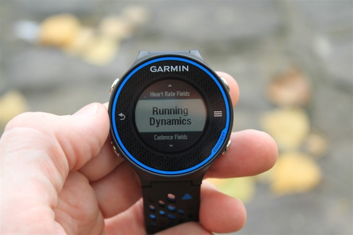 Garmin FR620 Running Dynamics