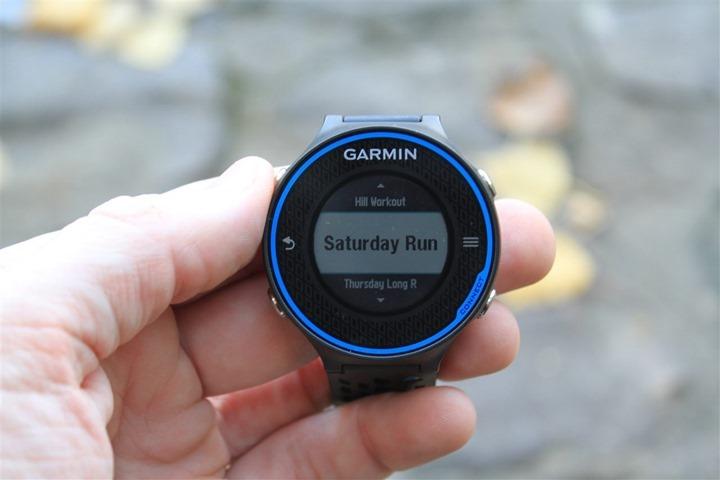 Garmin FR620 Training Calendar Workout