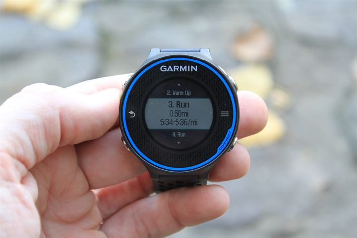 Garmin FR620 Workout Structure