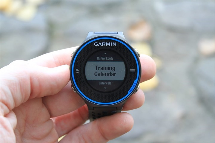 Garmin FR620 Training Calendar Feature