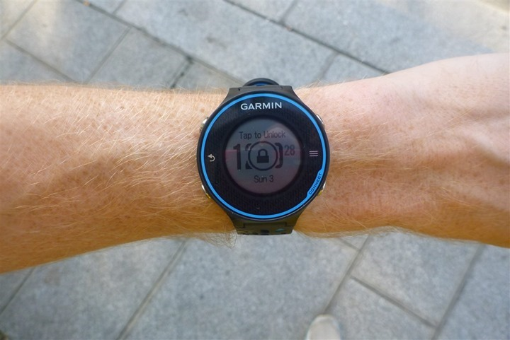 Garmin FR620 lock screen