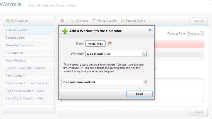 Garmin Connect Send to Device Training Calendar