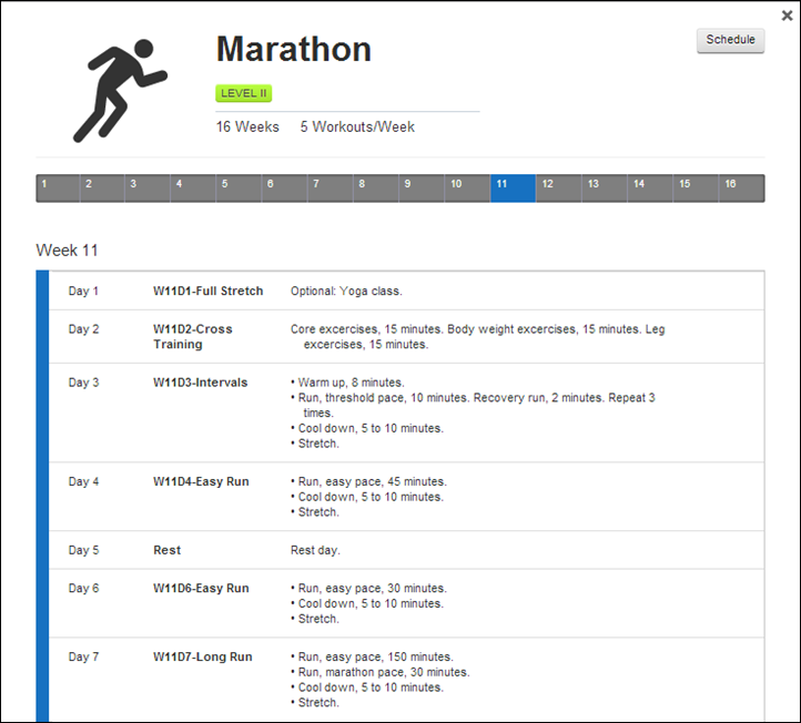 Garmin Connect Training Plans - Marathon