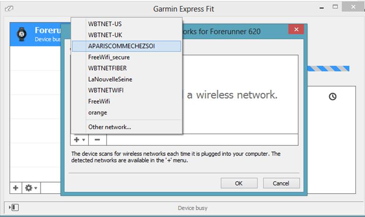 Garmin FIT Express with Garmin FR620 configuration of Wifi