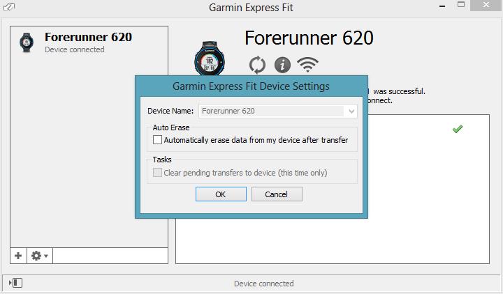 Garmin Fit Express FR620 WiFi Upload Configuration