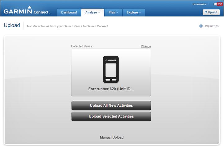 Garmin FR620 USB Upload to Garmin Connect