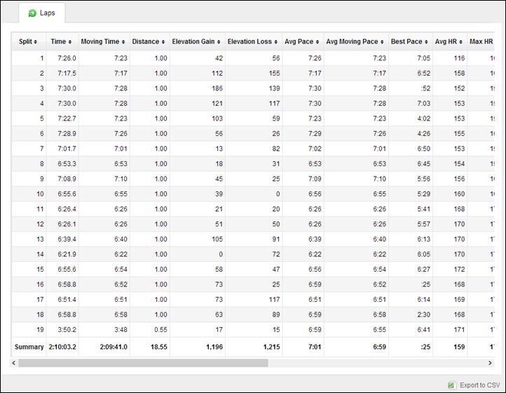 Garmin FR620 on Garmin Connect Splits Charts
