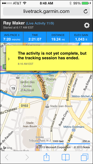 Garmin FR620 Livetracking on iPhone