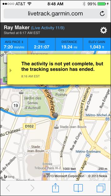 Garmin FR620 Livetracking on iPhone