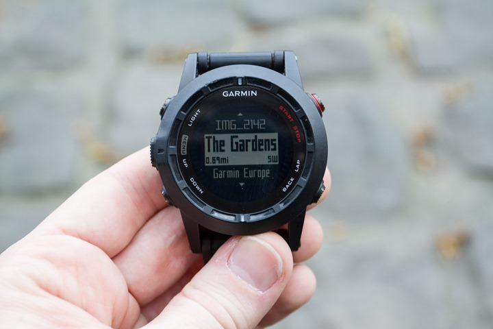 Garmin Fenix2 Navigation Waypoint Selection