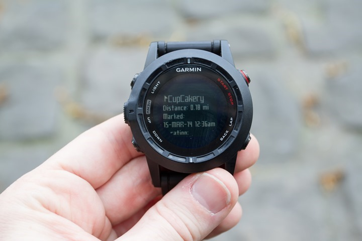 Garmin Fenix2 Navigation Waypoint Selection Details
